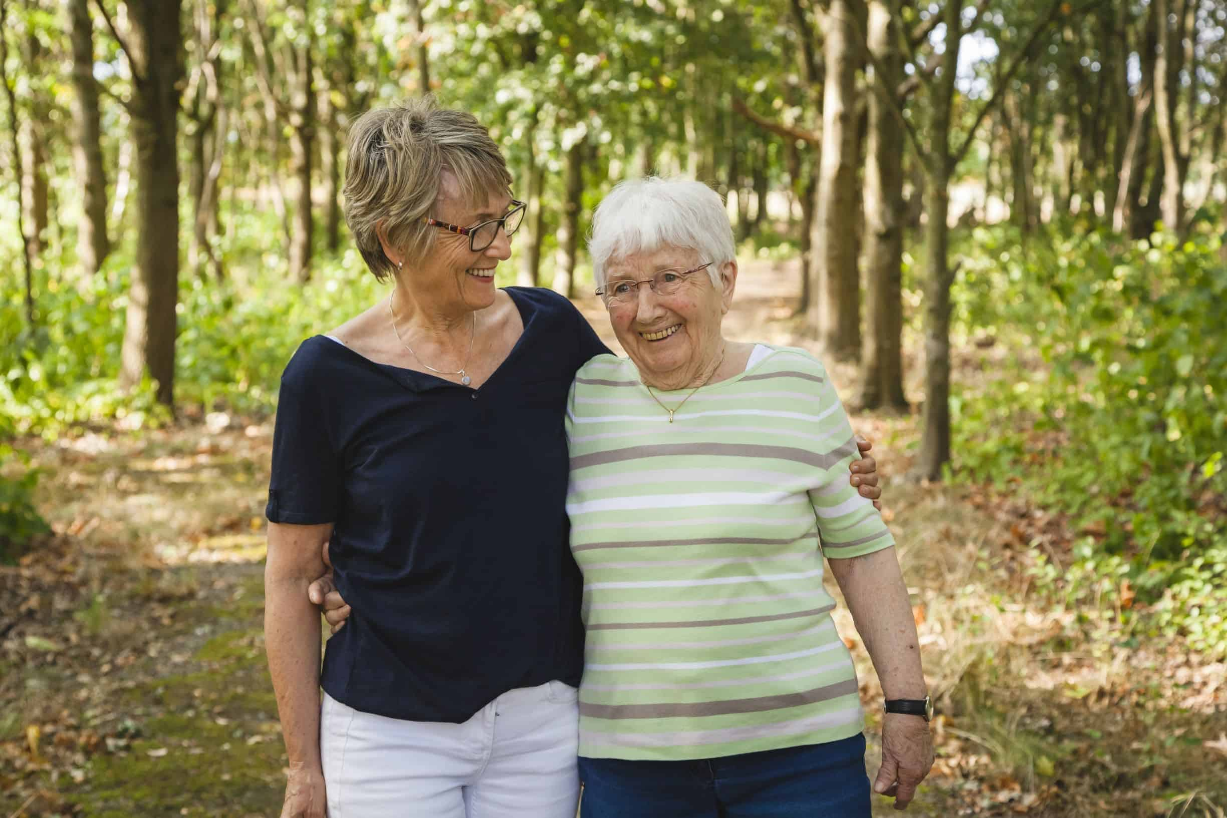 A dementia patient and a friend in the woods