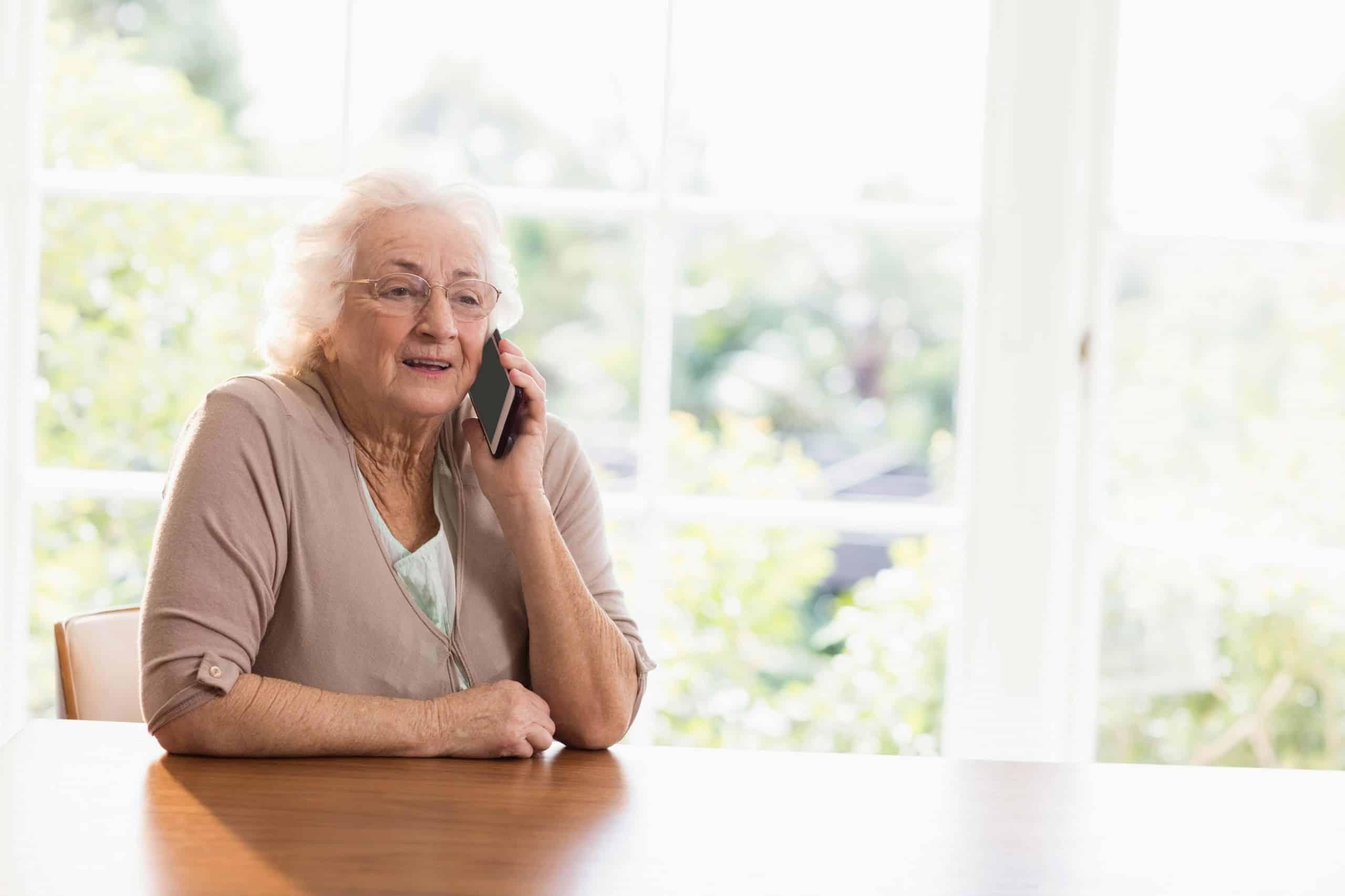 Elderly Lay on the phone