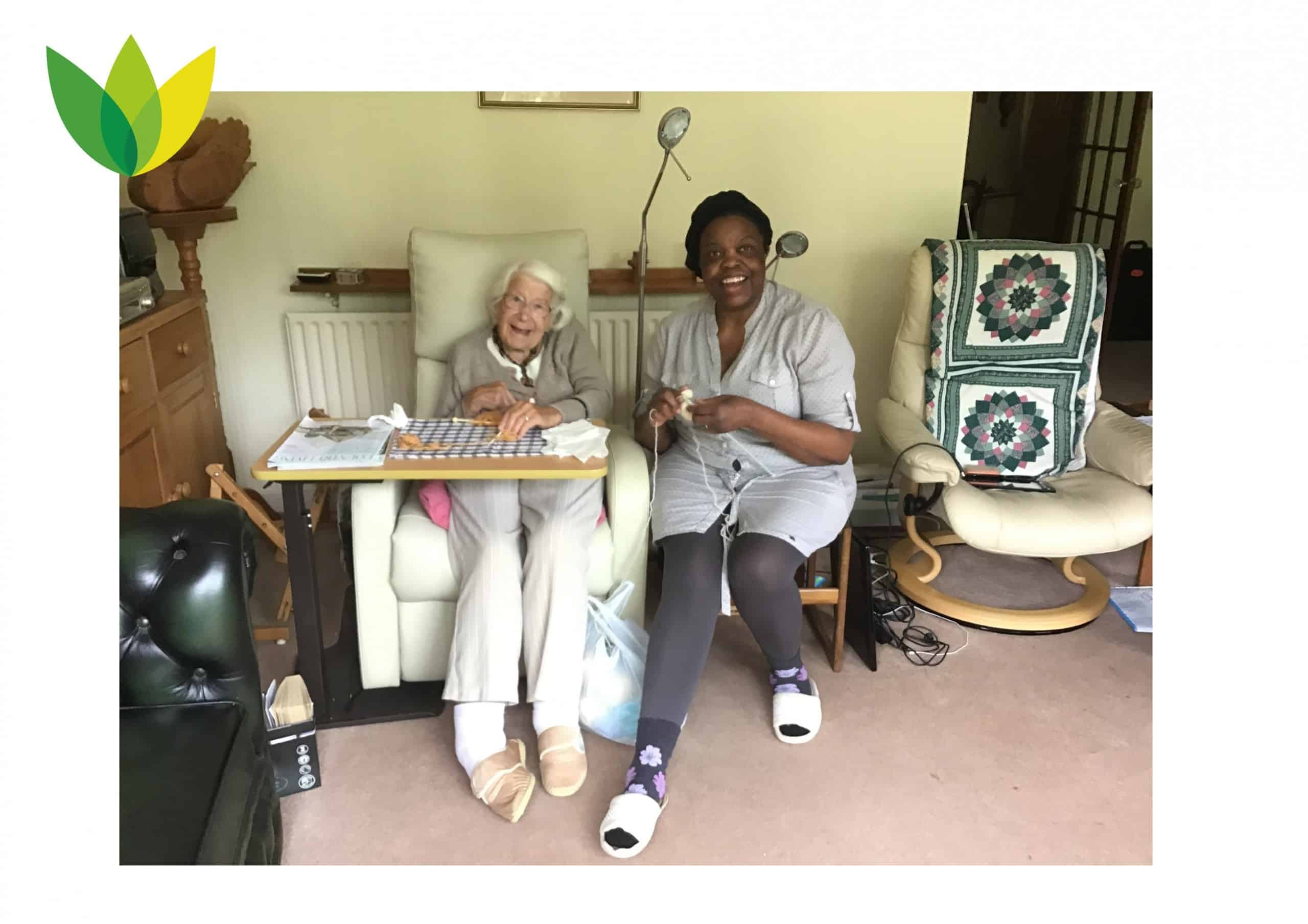Elderly Lady and Carer Knitting