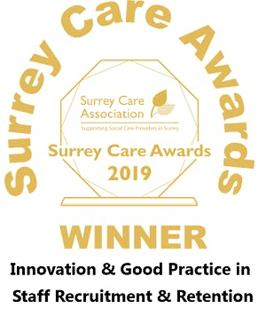 Surrey Care Awards Winner 2019. Innovation and good practice in staff recruitment and retention