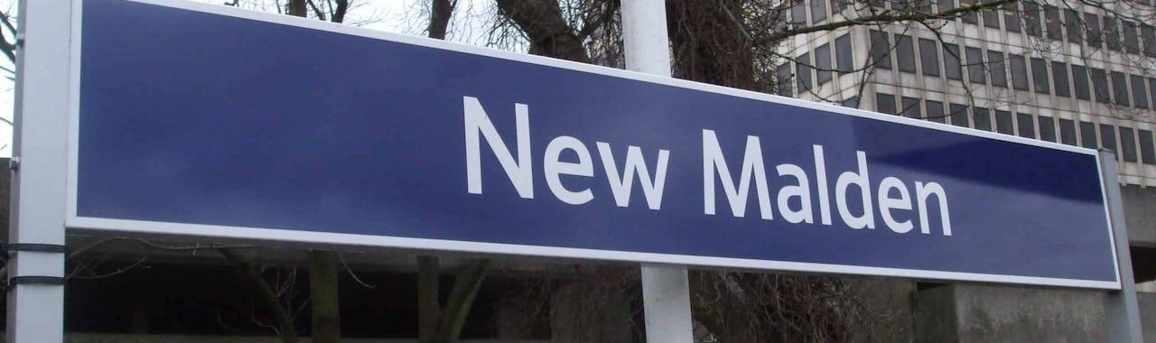 New Malden tube station sign