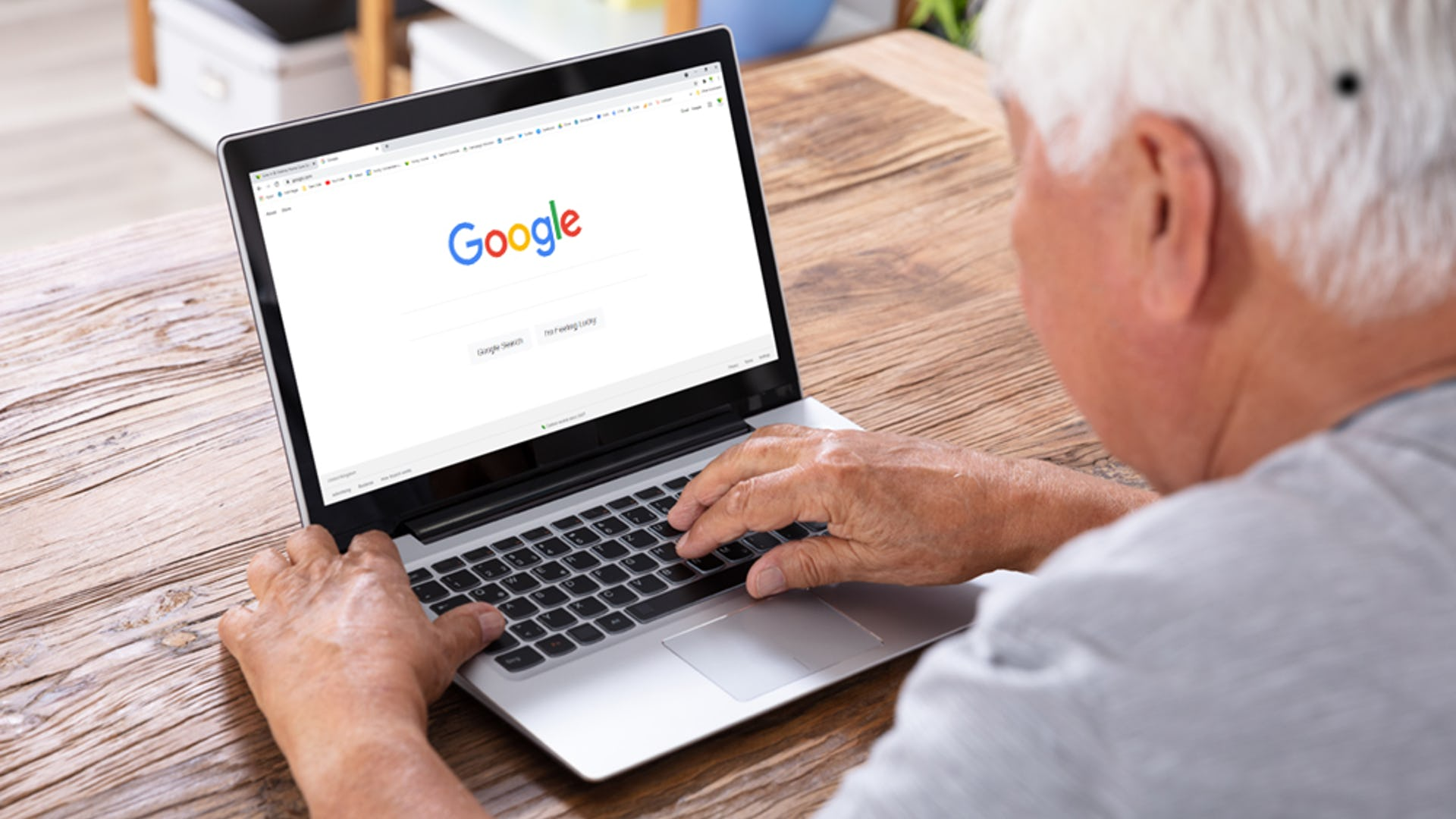 Google search on a laptop