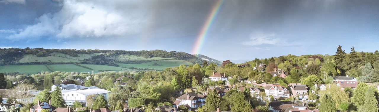 Rainbow over Box Hill and Dorking in the Surrey Hill