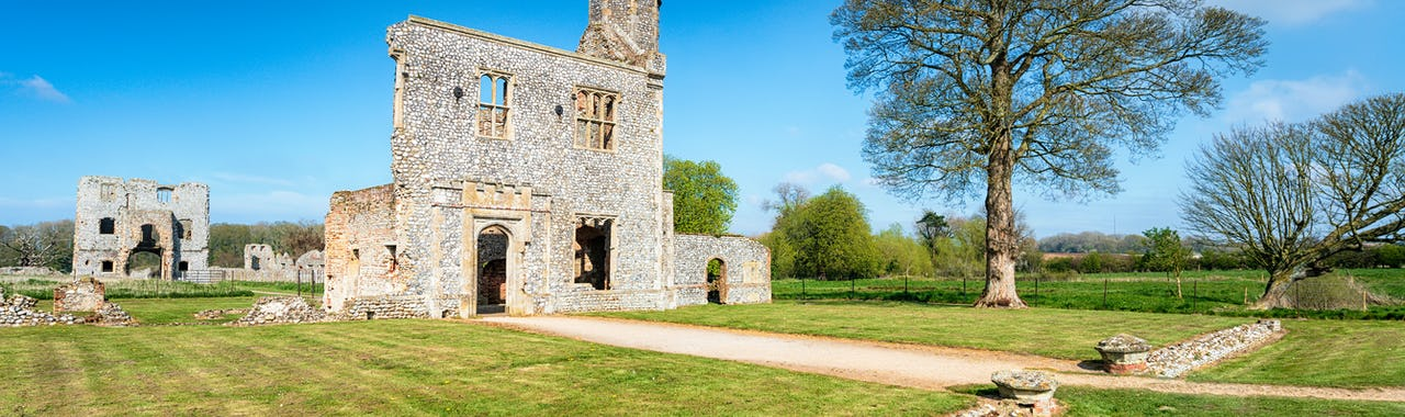 The ruins of Baconsthorpe Castle in Norfolk in East England