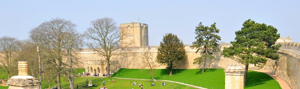 Sunny day at Lincoln Castle, Eats Midlands, England
