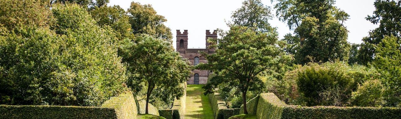 Esher, Claremont Landscape Garden, Belvedere Tower in distance