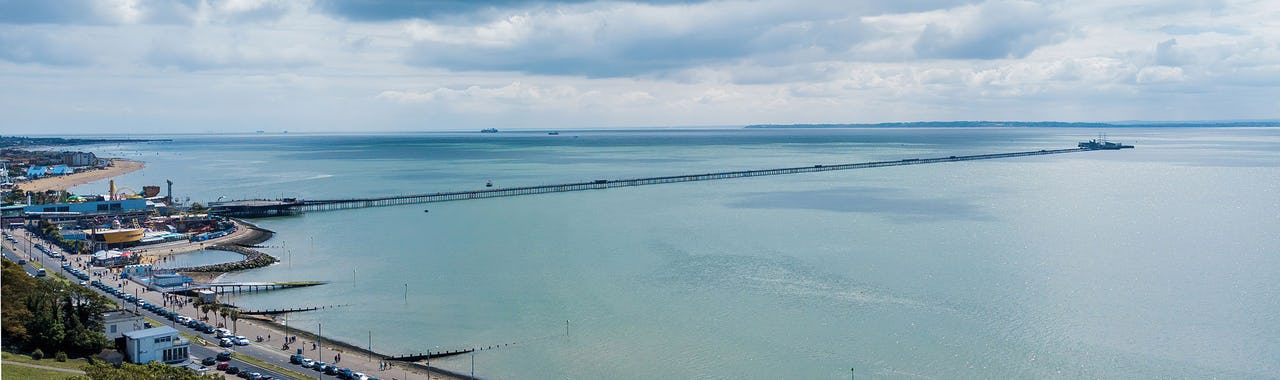 View of Southend-on-Sea in Essex. Beach, Pier and Sea view on a sunny day