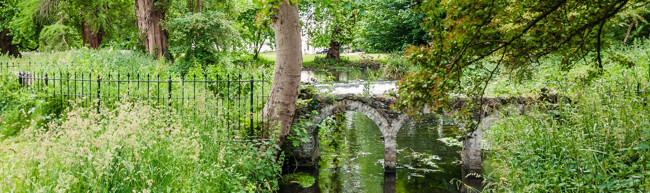 Small old arched bridge in Morden Hall Park Park, London UK