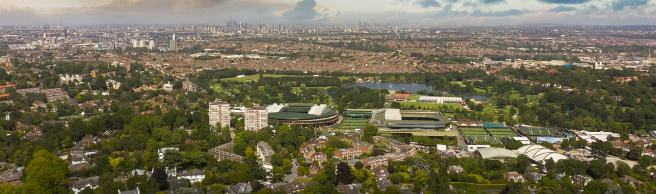 Wimbledon and central London aerial view