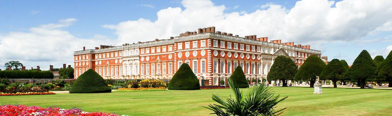 Hampton Court palace garden on a sunny day